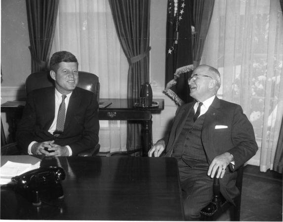 Former President Harry S. Truman visits with President John F. Kennedy on President Kennedy's first full day in office, January 21, 1961. This was the first time former President Truman had been to the White House since leaving office in 1953.