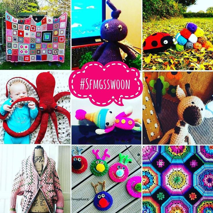 And here's Mr B's #SFMGSswoon collage!  You amazingly talented fibre artists kept his whole attention away from the football match that was on whilst we were out to dinner... I salute you!! Tap for makers!!  and big love to all!!  #SFMGS #crochetaddict #creativehappylife