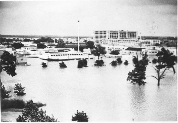 Flooded Area of Stores and Homes Near Downtown Fort Worth During Flood of 1949 - Everyone seemingly wanted to get the Montgomery Ward store in their flood pics in 1949.