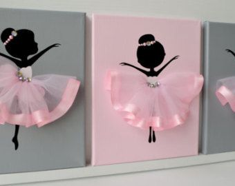 Dancing Ballerinas in Pink Tutus. Kids room wall by FlorasShop