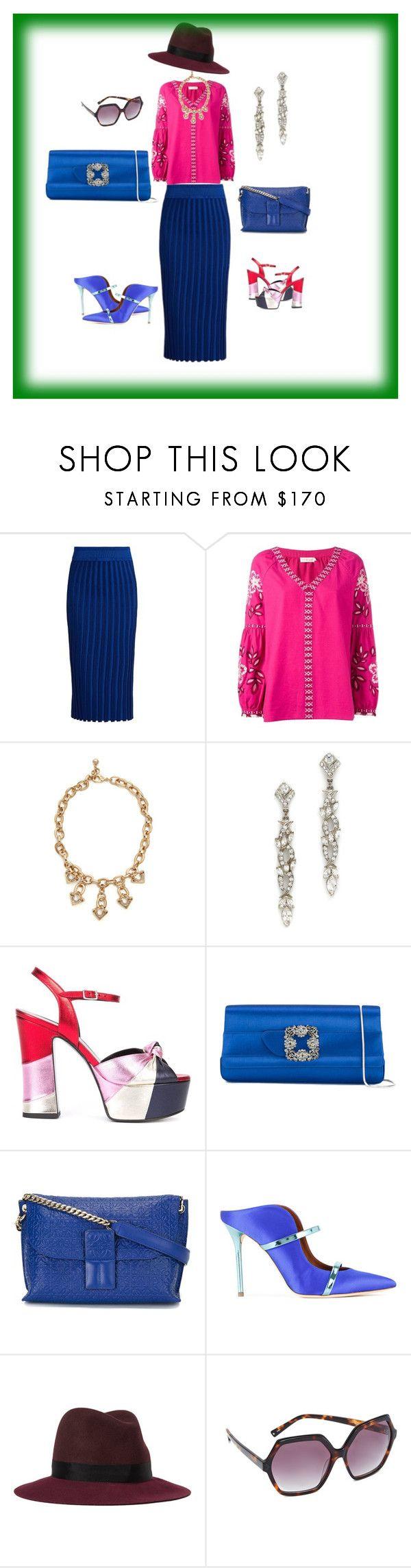 """Pink print...."" by jamuna-kaalla ❤ liked on Polyvore featuring Altuzarra, Tory Burch, Lulu Frost, Ben-Amun, Yves Saint Laurent, Manolo Blahnik, Loewe, Malone Souliers, rag & bone and Kendall + Kylie"