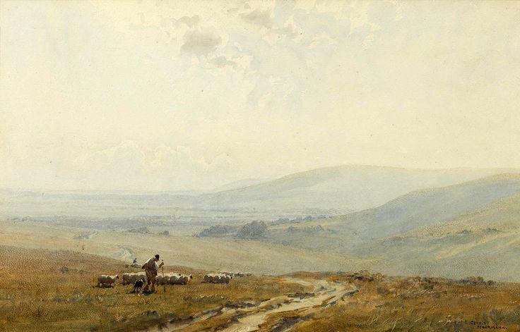 Gerald Ackermann, R.I (1876 — 1960, UK)  The Southdowns. watercolour 32 x 50.5 cm. (12 5/8 x 19 7/8 in.)