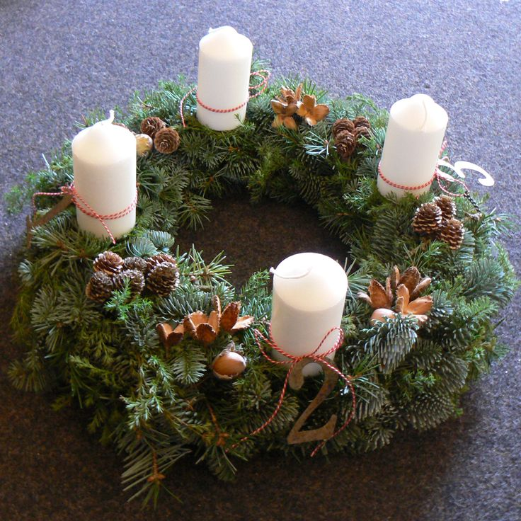 Advent wreath with winter greenery