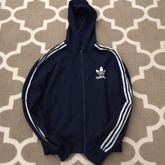 AUTHENTIC Adidas zip up track jacket Navy blue zip up Adidas hoodies - stings a little worn near plastic Adidas Tops
