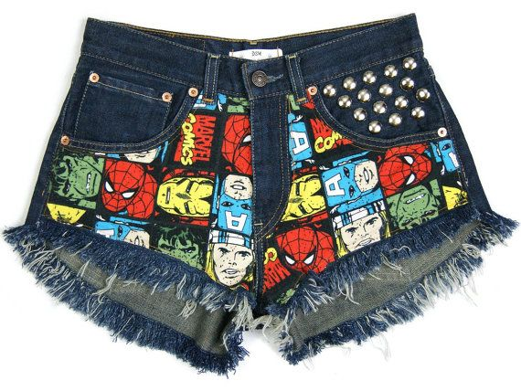 Marvel shorts Superheroes denim shorts Levis High by DSMjeans
