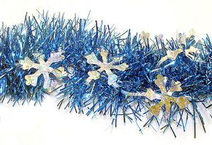 12' Blue Christmas Tinsel Garland with Silver Holographic Snowflakes - Unlit