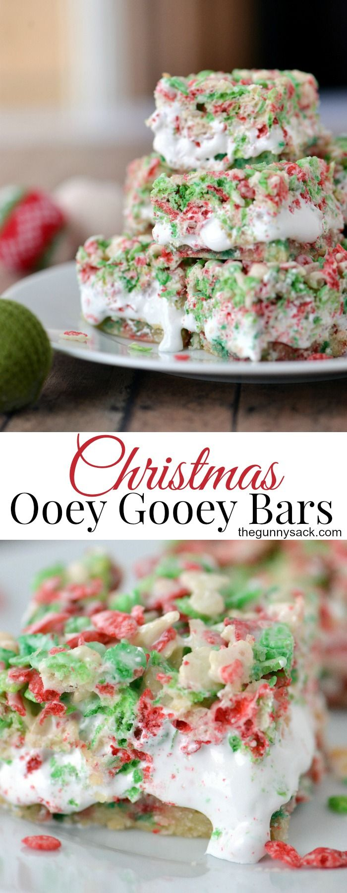 Christmas Ooey Gooey Bars are the BEST holiday version of Rice Krispies Treats.