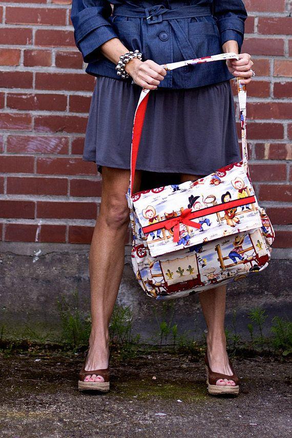 Vintage Cowboy Messenger style Diaper bag by ElonkaNicholeLimited, $75.00