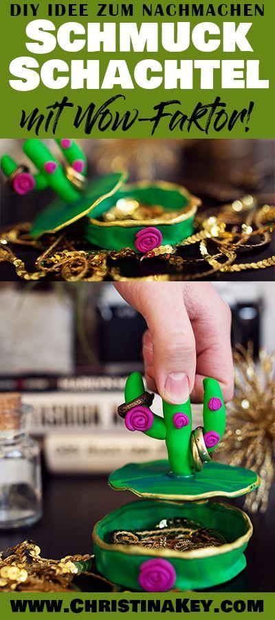 DIY Idee zum Nachmachen mit Kaktus - Schmuck Schachtel aus Fimo mit coolem Kaktus als Ringhalter und Aufbewahrung für Schmuck - Das besonders schöne Do It Yourself Projekt - auch perfekt geeignet als Geschenk Idee! Jetzt entdecken auf CHRISTINA KEY - dem Fotografie, Blogger Tipps, Rezepte, Mode und DIY Blog aus Berlin, Deutschland