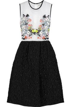 Erdem Faris embroidered silk-organza and jacquard dress | NET-A-PORTER