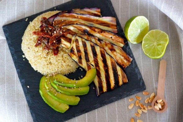 I Love Health | Quinoa met gegrilde aubergine   win 5 x groot Zonnatura pakket! | http://www.ilovehealth.nl