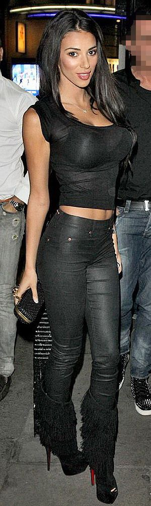 Georgia Salpa in a sheer Top and sexy waxed Pants