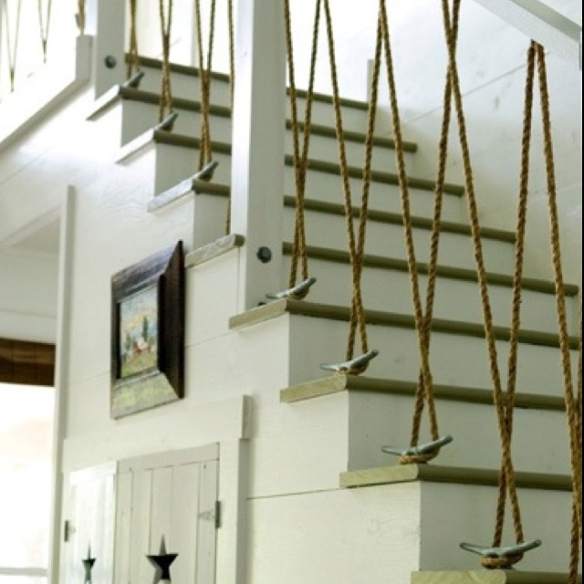 DIY nautical stairs - love.: Idea, Lakes House, Stairs, Beaches House, Cleats, Beaches Home, Boats, Ropes, Nautical Theme