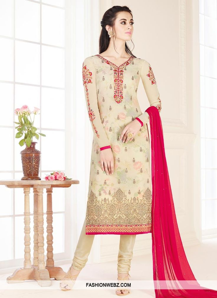 Make an adorable statement in this #cream #georgette #trendy #churidar #suit with #fancy #embroidery