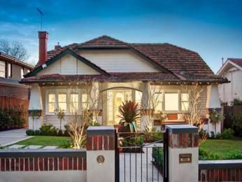 Brick californian bungalow house exterior with bay windows & landscaped…