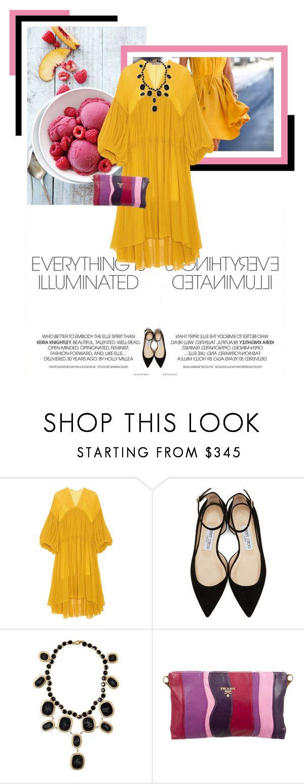 """Mustard Caftan Dress"" by veronicamastalli ❤ liked on Polyvore featuring Chloé, Jimmy Choo, Salvatore Ferragamo and Prada"