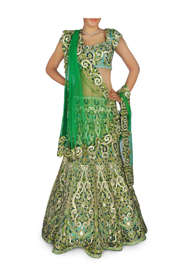 This chaniya choli comes in Light green and blue dual shade made in net fabric, heavily embroidered with zari work and embellished with stone beads. This chaniy