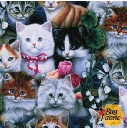 Animal Love: Kittens - David Textiles 2003-3c-1 -- 15 inches remaining for $4.25