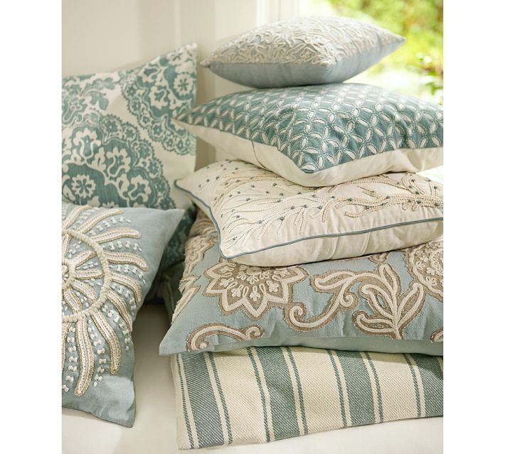 Blue Throw Pillows Pottery Barn : Aqua, turquoise, cream & beige throw pillows Pottery Barn Color Combo: Turquoise & Tan Home ...