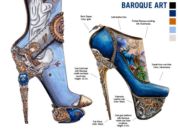 Learn Art History Through 10 Stunning Pairs Of High Fashion Heels  Designer Nick Adelman challenged himself to encompass different cultures' art in a fashion medium.