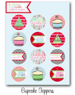 cupcake toppers, water bottle labels, tags, party box