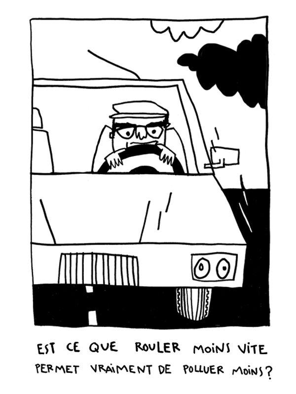 Boîte à questions : Rouler moins vite, c'est vraiment polluer moins ? La réponse de Stéphane Balmain, de l'IUT Lyon 1 (Illustration d'Adèle Bailly)