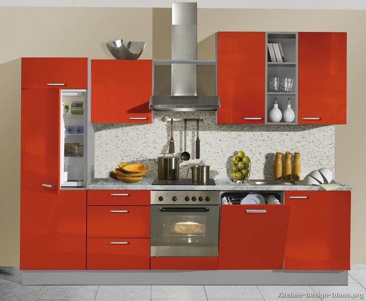 152 best images about red kitchens on pinterest modern for Small built in kitchen
