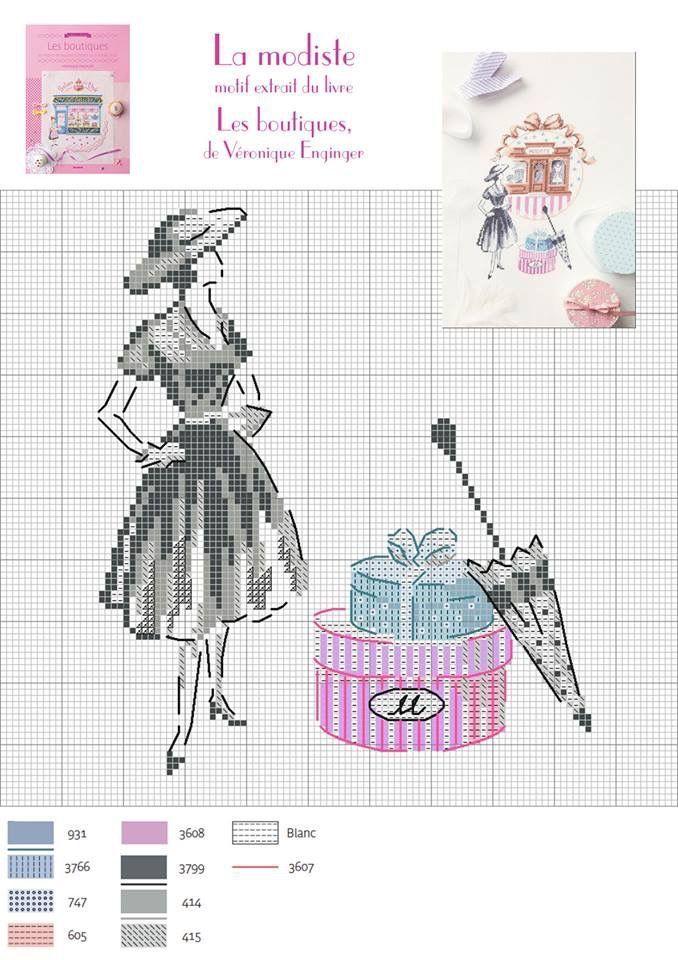 0 point de croix femme mode vintage - cross stitch fashion lady