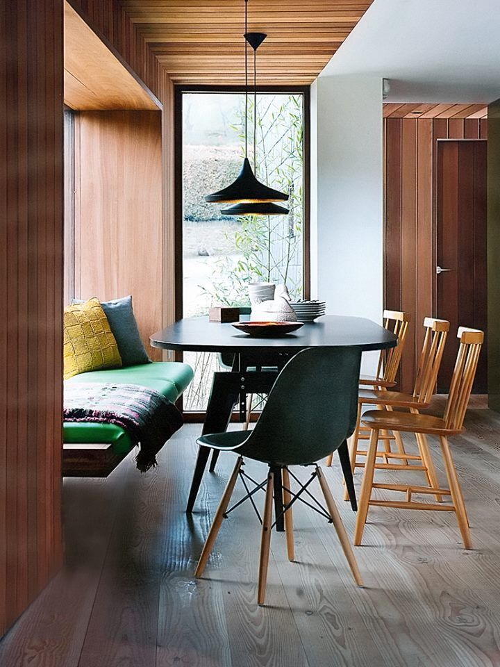Window bench is modern and warm  Dining nook                                                                                                                                                      More