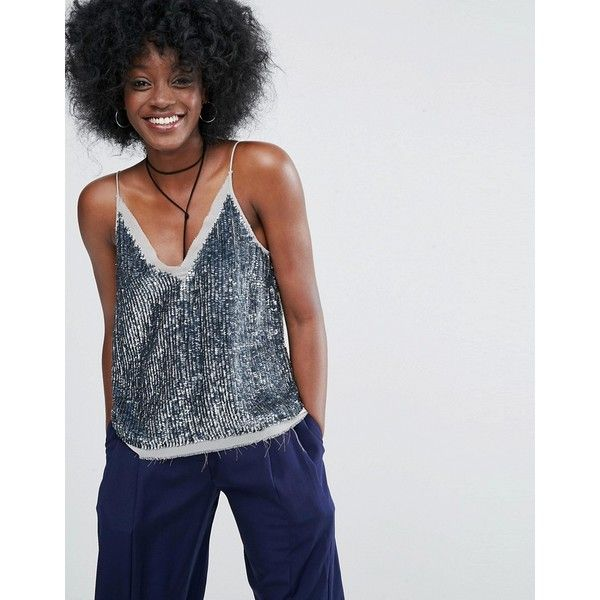 ASOS Sequin Cami Top with Raw Edge Detail ($46) ❤ liked on Polyvore featuring tops, petite, silver, spaghetti-strap tank tops, v neck tank top, v-neck camisoles, v neck tank and petite tops