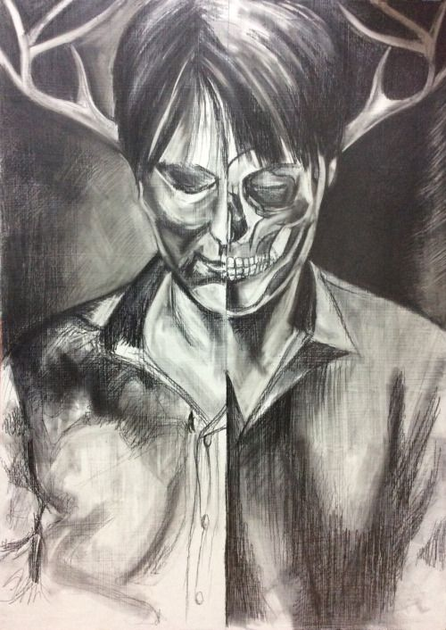 Hannibal as Wendigo, pencil on panel.