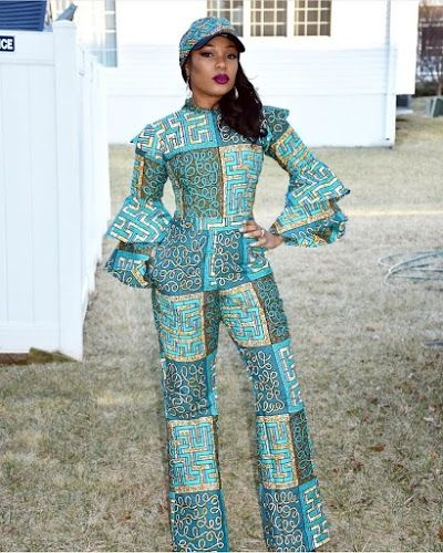 750d1c33324a Superb Ankara Jumpsuits with Face Cap for Beautiful Ladies