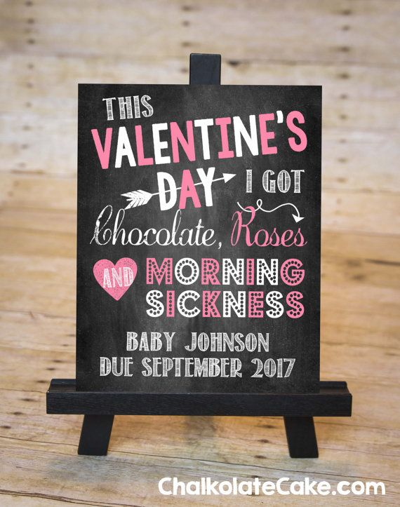 VALENTINE'S DAY Pregnancy Announcement Sign by ChalkolateCake on Etsy