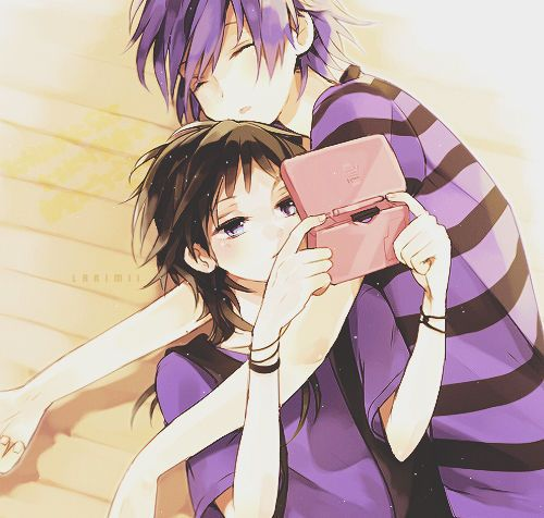 Anime couple, girl with a game and guy sleeping i love this and i wish this would happen yo mee!!