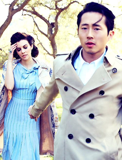 In the Real world......Lauren Cohan and Steven Yeun photographed by Mark Williams and Sara Hirakawa
