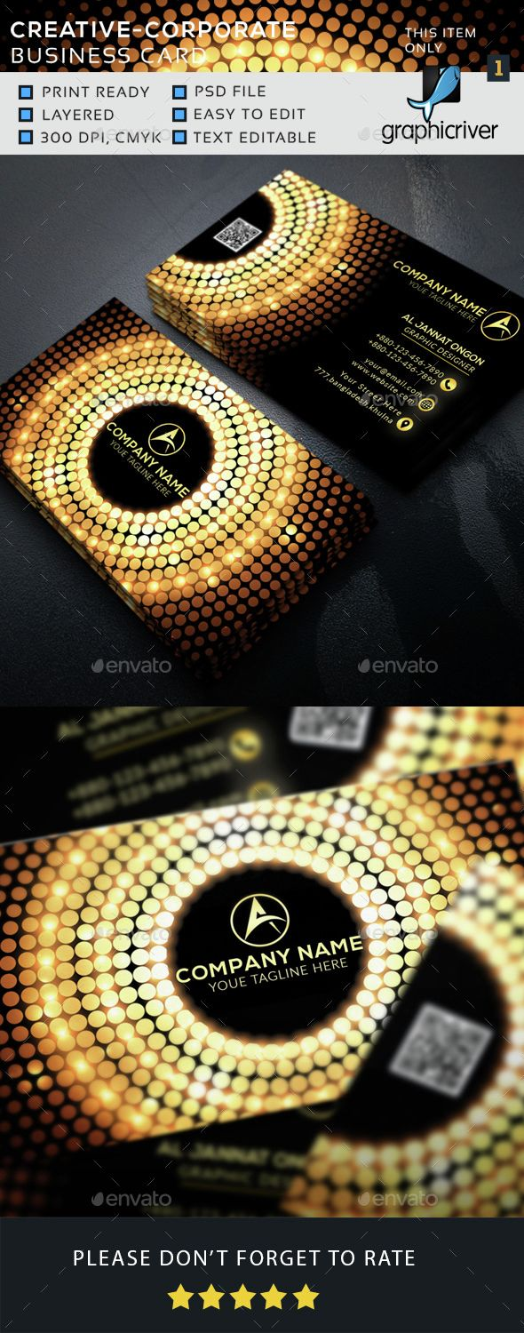 Corporate Business Card - #Business Cards Print Templates Download here: https://graphicriver.net/item/corporate-business-card/15434444?ref=classicdesignp