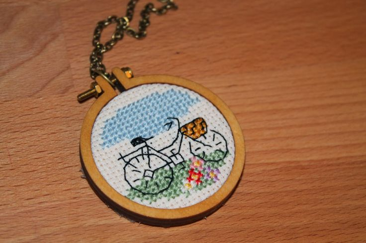 Cross stitch necklace #crossstitch