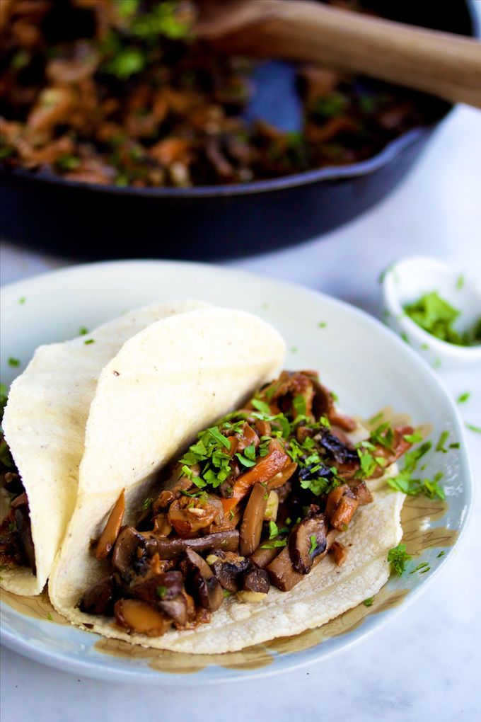Mushroom tacos. I made these last night with of course my own tweaks on it. Very tasty!