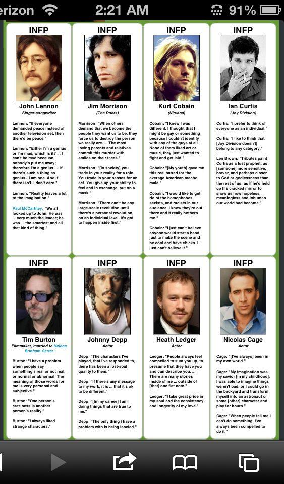Famous INFP's = John Lennon – Jim Morrison – Kurt Cobain – Tim Burton – Johnny Depp – Heath Ledger – Nicolas Cage – Morrissey –