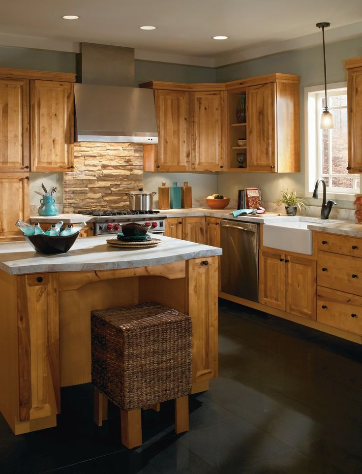 This rustic kitchen with Dryden cabinet doors
