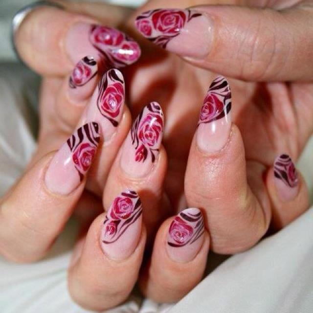 Nail art, rose
