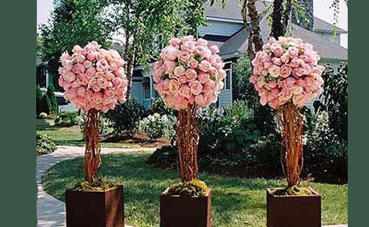 Поделки из пластиковых бутылок - волшебные деревья - Поделки для сада: Розовое дерево счастья