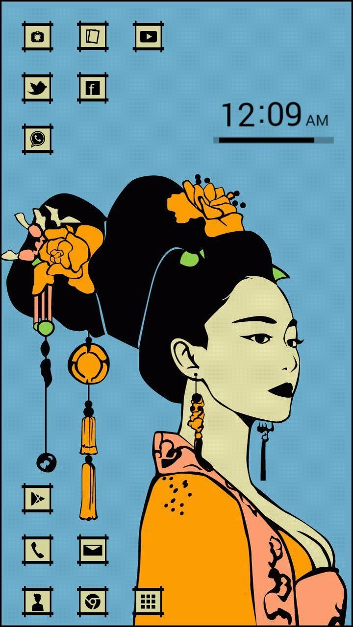 [Homepack Buzz] Consultez ce super écran accueil! Sean Cha | 1. Sean's art work Northeast asian girl theme  pop art illust    Illusted by Sean Cha    #pop art #illust #asia #asian # asian girl  #traditional #tradition #illust #china  #korea #japan