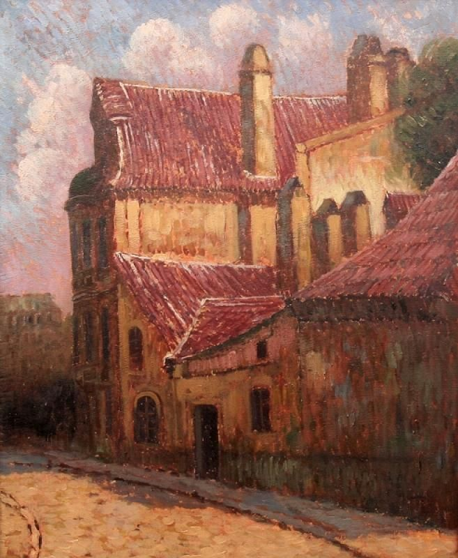 Staropražské zákoutí | Gustav Macoun | olej na lepence, 60 × 49 cm