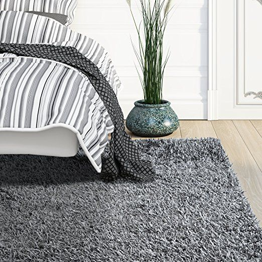 Amazon.com: Shaggy Ribbon Charcoal Shag Rug 8ft0in x 10ft0in: Kitchen & Dining