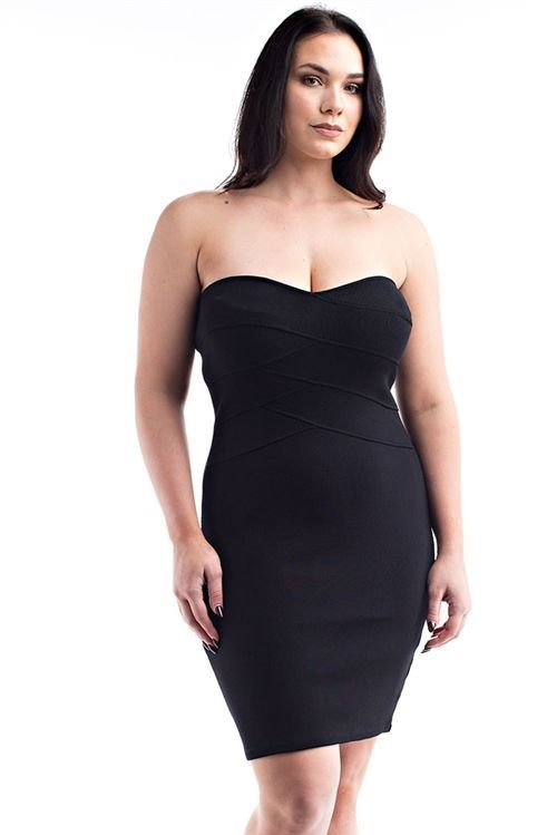 New Trendy Black Off Shoulder Plus Size Dress For Women 1X-2X-3X #Unbranded #strapless