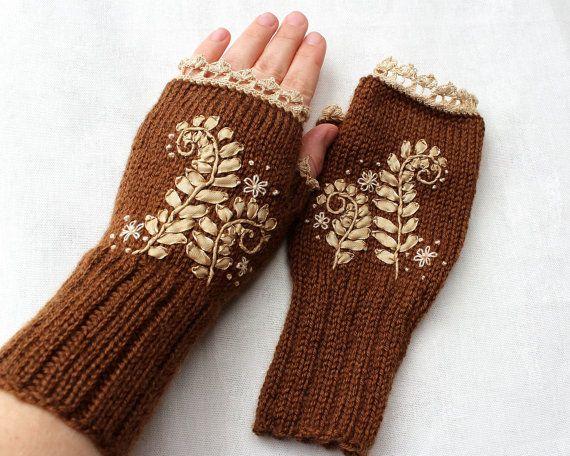 Hand Knitted Fingerless Gloves Ribbon by nbGlovesAndMittens
