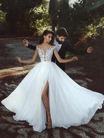 Cheap Wedding Dresses Floor-length A-line Appliques Simple Chiffon Bridal Gown