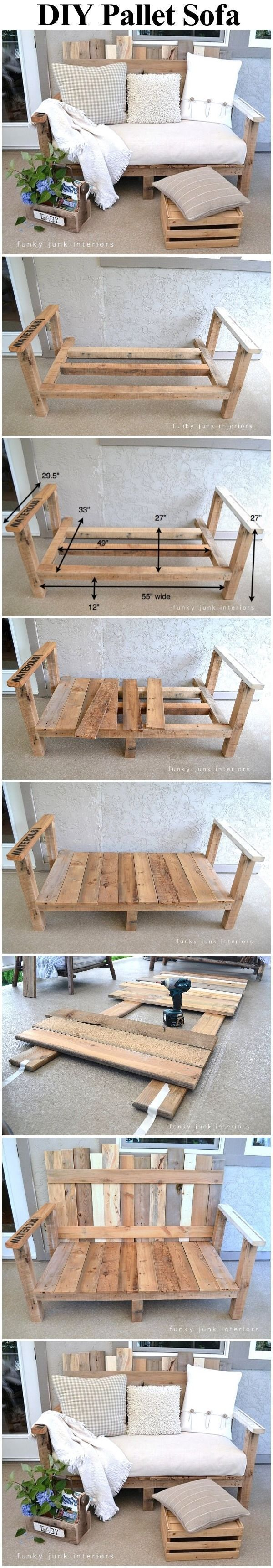 Pallet Wood Outdoor Sofa summer diy craft crafts diy ideas diy crafts backyard ideas summer backyard ideas backyard projects pallet wood idea
