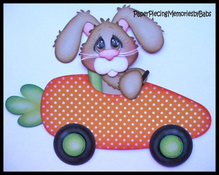 Bunny Carrot Car created by PAPER PIECING MEMORIES BY BABS using patterns from Little Scraps of Heaven Designs
